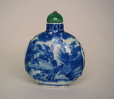 A Blue and White 'Hundred Deers' Snuff Bottle with Jadeite Top