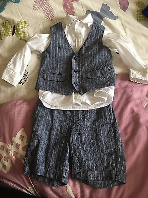 Baby Boys Wedding Outfit BHS. 18-24months.Excellent Cond.Shirt Shorts Waistcoat