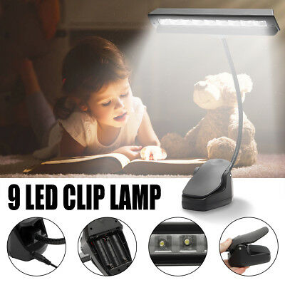 Music Stand Clamp 9 LED Clip-on Night Light Bed Table Desk Reading Studying Lamp