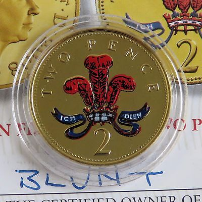 2001 QEII TWO PENCE LAYERED IN PURE GOLD AND ACCENTED IN FULL COLOUR - coa
