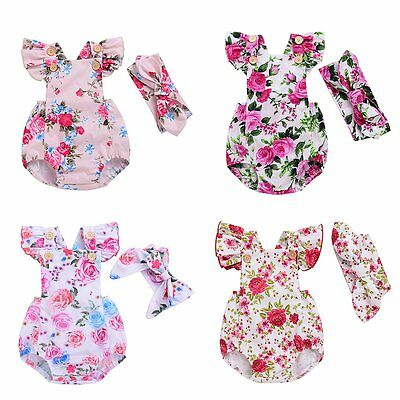 Newborn Infant Baby Girl Floral Romper Bodysuit Jumpsuit Outfits Sunsuit Clothes
