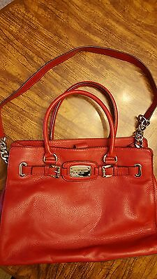 Michael Kors Hamilton Red Leather Tote Hand,shoulder Bag Purse