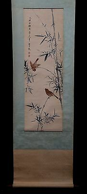 Large Rare Old Chinese Scroll Hand Painting Bamboo Birds YanBoLong Marks PP930