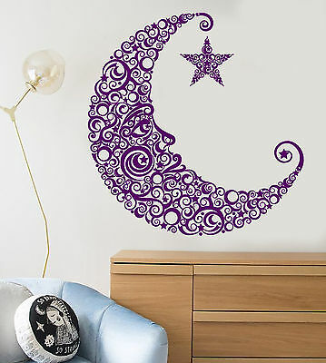 Vinyl Wall Decal Moon Face Star Art Decor Children's Room Stickers (1271ig)