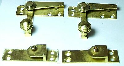 Pair Vintage Reclaimed Brass Victorian Style Beehive Knob Window Catches