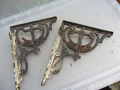 "Antique Cast Iron Shelve Holder Brackets Shelf Shelving Vintage Old ""ALMA""   8""D"
