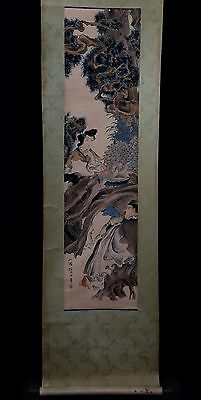 Vintage Long Rare Chinese Scroll Hand Painting Figures RenBoNian Marks PP913