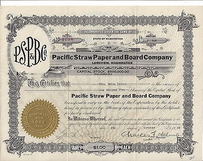 Pacific Straw Paper And Board Company (Longview, Wash)...1925 Stock Certificate