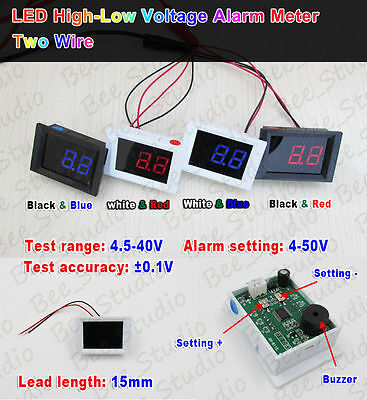 DC 4.5V-40V Digital LED Voltmeter Battery High-Low Voltage Meter Alarm Detector