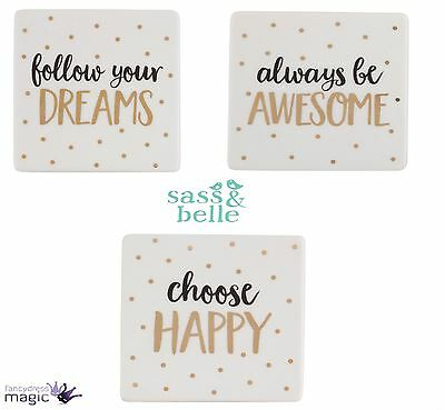 Sass & Belle Metallic Monochrome Ceramic Sentiment Coffee Tea Coaster Home Gift