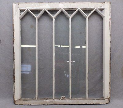 Antique Diamond Gothic Cottage Window Sash Shabby Vtg Chic 32x33 431-17R