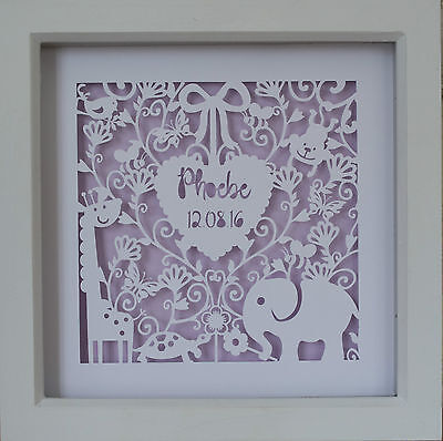 New Baby personalised box frame picture