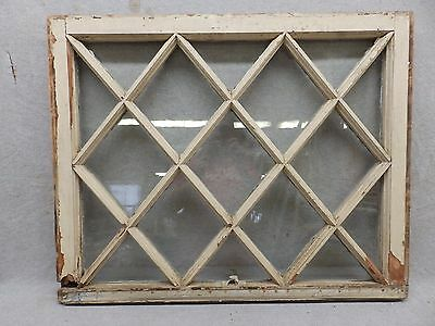Antique Window Diamond Sash Shabby Cottage Chic Old Vintage 25x31 432-17R