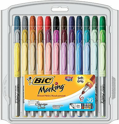 BIC Mark-It Marker Fine Point 36 Assorted Colors Adult Coloring Books Art Crafts