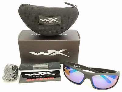 645a77d663 Wiley X Omega Polarized Sunglasses Emerald Mirror Lens Matte Black Frame  Acome07