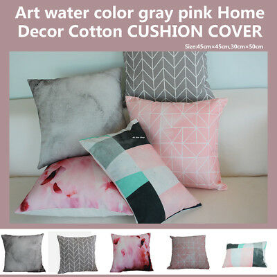 Art water color gray pink Home Decor Cotton CUSHION COVER Throw PILLOW 18""