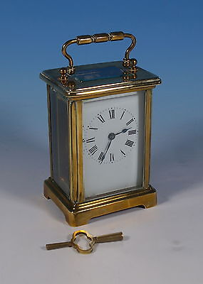 Antique French Gilt Brass & Glass Carriage Clock Working Order