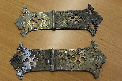 Pair of Reclaimed Brass Strap Hinges Antique Ornate Pierced & Etched