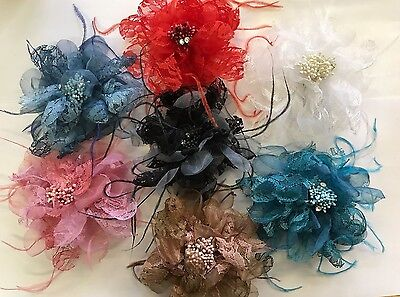 LACE FLOWER HAIR ACCESSORIES HAIR CLIP BROOCH 14cm CHOOSE YOUR COLOUR NO13