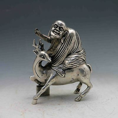 Chinese Collectable Tibet Silver Buddha Riding in Deer Statues X0218