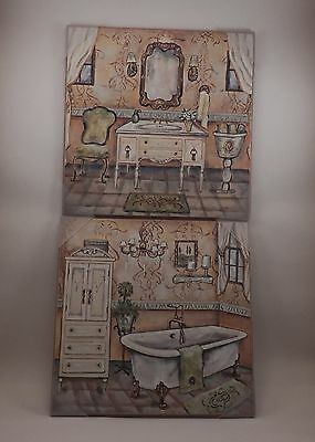 """12"""" x 12"""" French Country Bathroom Wall Art Prints Set of 2  Green/Cream"""