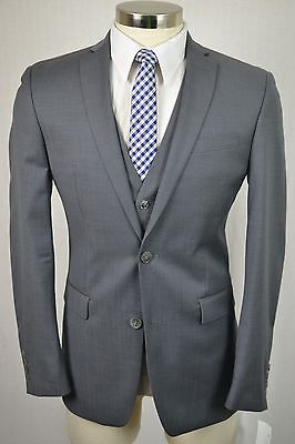 (38R) Bar III Men's Gray Wool SLIM FIT Flat Front 3 Piece Suit w/ Vest (32x30)