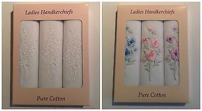 New Ladies 3 Multi-Pack Cotton Floral Embroidered Boxed Handkerchiefs Hankies