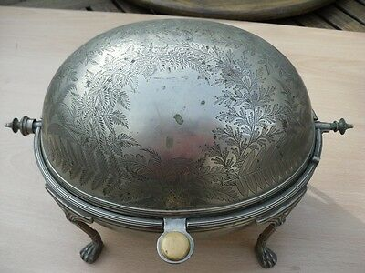 Antique Silver Plated Roll Lid Serving Dish. Mappin & Webb. C1885. Attic Find.