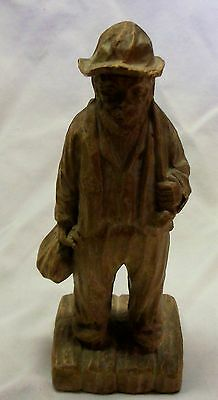 "Vintage Carved  Wood 6"" Hobo Statue Figure"