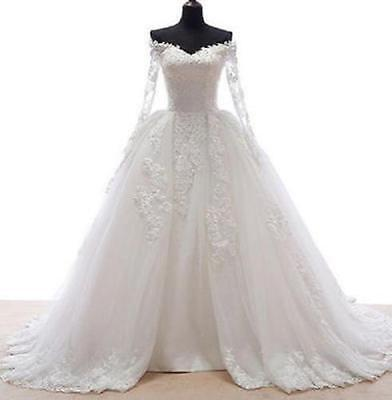 White/ivory Lace Wedding dress Bridal Gown custom size 4 6 8 10 12 14 16 18+