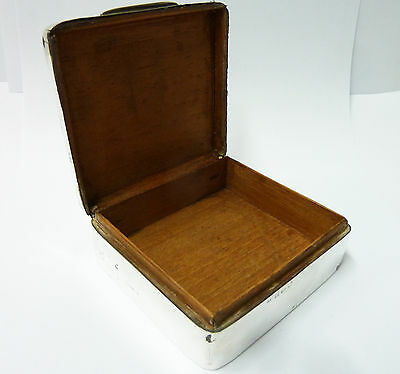 Antique Solid Silver Cigarette Box. Hallmarked Birmingham 1902 -  210g