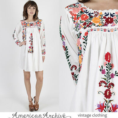 Vintage 70s Oaxacan Mexican Dress White Bright Floral Embroidered Long Slv Mini