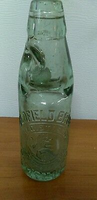 "Beautiful Vintage Green Codd Bottle With Marble 8 1/2"" Tall"