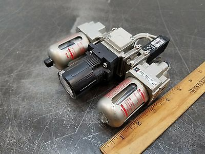 "SMC Pneumatic Air Filter Regulator Lubricator Valve 1/8"" Npt Combo"