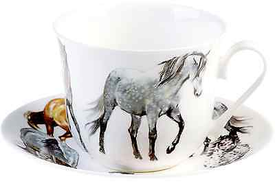 Roy Kirkham Horse Pony Lovers Bone China Jumbo Breakfast Cup & Saucer Gift Boxed