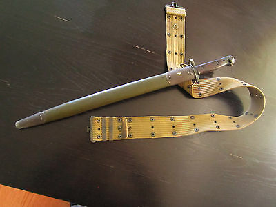 """1907 17""""  Enfield ? WWI Bayonet Scabbord With US Army Belt"""