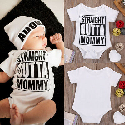Newborn Infant Baby Kids Boy Girl Romper Jumpsuit Bodysuit Clothes Outfit White