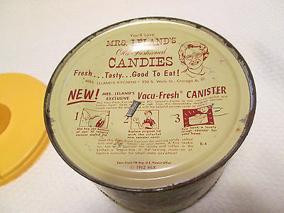 Vintage Mrs. Leland's 1962 Old Fashioned Candies Round Tin