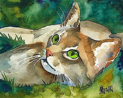 Abyssinian Cat Art Print Signed by Artist Ron Krajewski 8x10