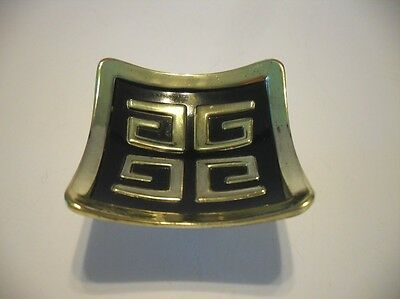 "Vintage BLACK & BRASS Plated Drawer Knob 2"" Square Concave Cabinet Door Asian"