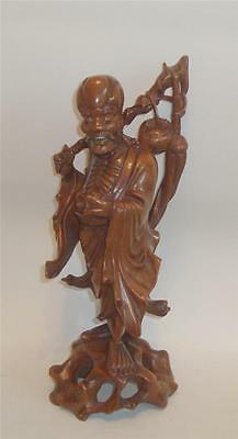 """19thC CHINESE CARVED HARDWOOD FIGURE OF IMMORTAL SHOU LAO ROOT WOOD STAFF 13.5"""""""