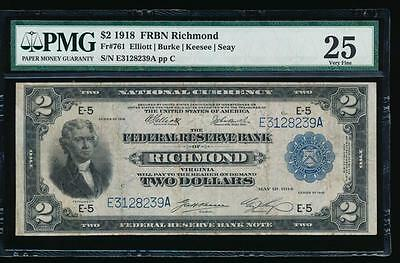 AC Fr 761 1918 $2 Richmond FRBN BATTLESHIP PMG 25