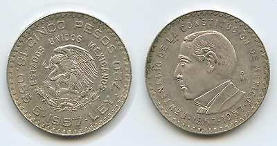 G0041 - Mexiko 5 Pesos 1957 M° KM#470 Silber Anniversary of Constitution Mexico