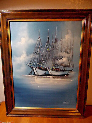 """Vintage Oil On Canvas Sailboats 25""""x19"""" Artwork By Carlson.hand Painted.quality!"""