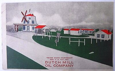 Antique Advertising Postcard Dutch Mill Oil Company Windmill Gas Station