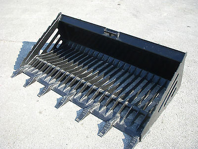 "Bobcat Skid Steer Attachment - 72"" Rock Bucket with Teeth - Shipping Cost $149"