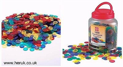 Transparent Plastic Counters Numeracy Teaching Resource Pack 10, 50, 100 ,1000