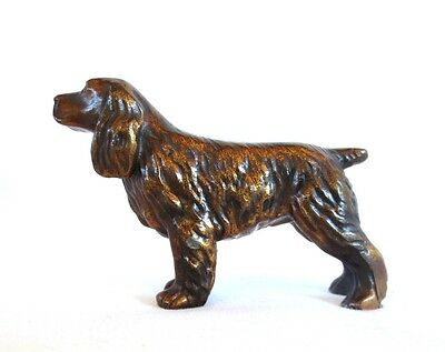 Copper Cocker or Springer Spaniel Collectible Dog Figurine Paperweight Vintage