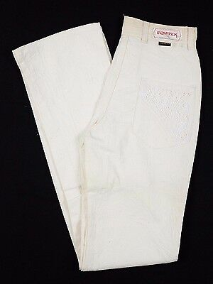 Vtg 1970s Maverick by Blue Bell Woman's Jeans Sz 11 white pants lace