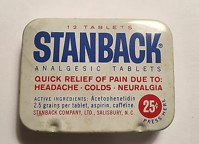 Vintage STANBACK ANALGESIC TABLETS Medicine Tin Can - FULL AND DIRECTIONS SHEET